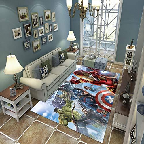 LGXINGLIyidian Casa Alfombra Superhero Iron Man Hulk Alfombra Suave Antideslizante De Decoración del Hogar De Impresión 3D 120X180Cm