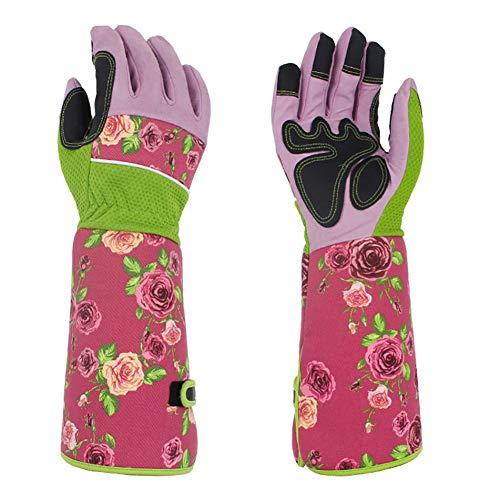 Lange Gartenhandschuhe für Frauen, dornensichere Damen-Leder-Arbeitshandschuhe mit 37 cm Stulpenschutz, Gewächshaus-Arbeitshandschuhe für Gärtner, pink