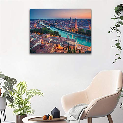 "European Custom Wall Paintings, Verona Italy During Summer Sunset Blue Hour Adige River Medieval Historcal Posters for Kids Bedroom Decoration, 24"" W x 31"" L Aqua Coral Green"