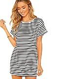 SheIn Women's Casual Loose Striped Mini Dress Short Sleeve T-Shirt Dresses Black Small