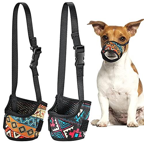 2 Stücke Hundemaulkorb Weicher, Atmungsaktiver Mundschutz Haustier Maulkörbe Bedruckt Nylon Hunde Mundschutz Nylon Verstellbare Schnauze Welpen Mundschutz für Hunde Haustiere (Klein)
