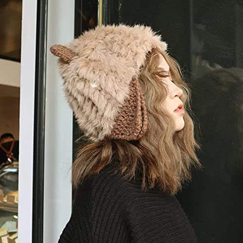 Dingyi Gorros mullidos de Conejo para Mujer Gorros Chapeau Femme Hat Bonnet Cap Gorras para Mujer Gorros