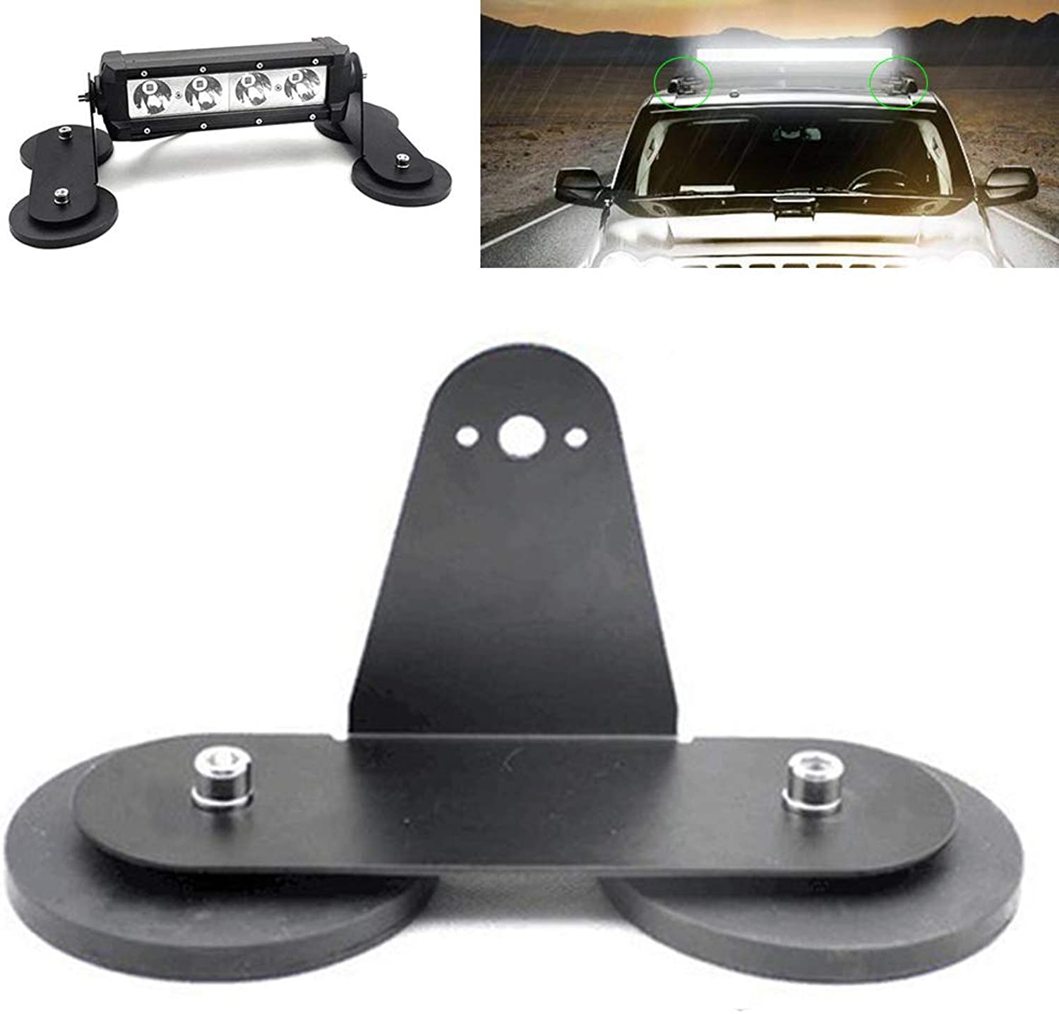 LED Light Bar Mounting Holder 2Pcs Car Lamp Brackets Roof Tractors Off Road Magnetic Base for LED Driving Light Bar and Work Lamp
