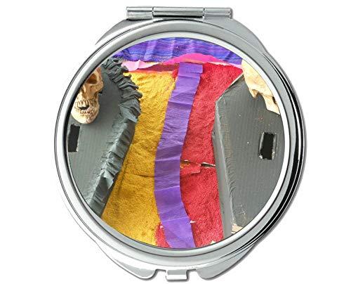 Yanteng Spiegel, Kompaktspiegel, Totenkopf weiß Mexiko, Taschenspiegel, 1 X 63X Vergrößerung