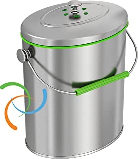 iTouchless Stainless Steel Compost Bin 1.6 Gallon Includes AbsorbX Odor Filter System, Titanium Rust-Free Space-efficient ...