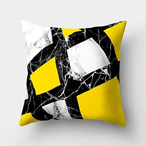 Dollin&Dockin Vierkante kussensloop, geel, geometrisch marmer, perzik, huid, geprint, leuke decoratie, geschikt voor bank, slaapkamer, woonkamer, auto, beschermhoes, kleur 11