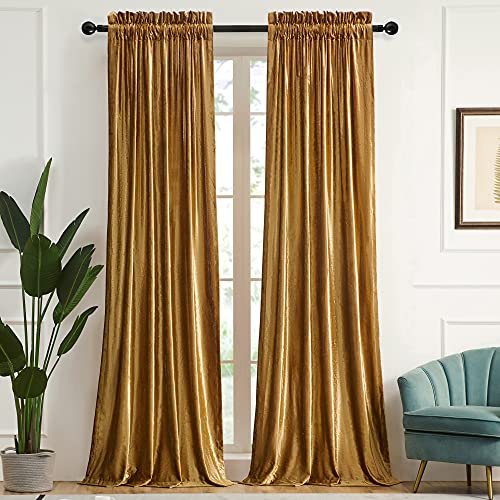Gold Curtains 84 inch for Living Room Velvet Blackout Rod Pocket Window Drapes Treatment Semi Room Darkening Decor Golden Curtains for Bedroom Set of 2 Panels