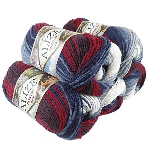 500g Strick-Garn ALIZE BURCUM Batik Strick-Wolle Handstrickgarn, Farbe wählbar, Farbe:2978 weiß-blau-rot
