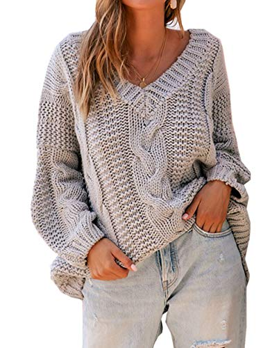 ZIYYOOHY Damen Grobstrick Strickpullover V-Ausschnitt Oversize Causal Langarmshirt Sweatshirt Pulli Outwear Mantel (L, Grau)
