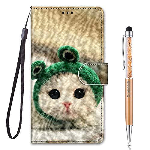 Grandoin für Xiaomi Redmi 8A Hülle, Handyhülle im Brieftasche-Stil, Handytasche PU Leder Flip Cover 3D Muster Bunte Muster Book Hülle Hülle Schutzhülle für Redmi 8A (Frosch Katze)