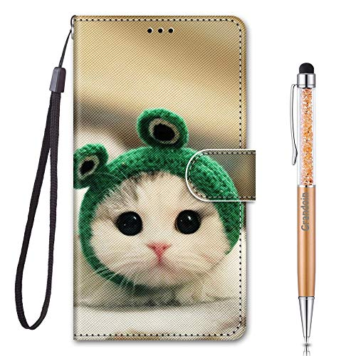Grandoin für Huawei Honor 9A Hülle, Handyhülle im Brieftasche-Stil, Handytasche PU Leder Flip Cover 3D Muster Bunte Muster Book Hülle Case Schutzhülle für Huawei Honor 9A (Frosch Katze)