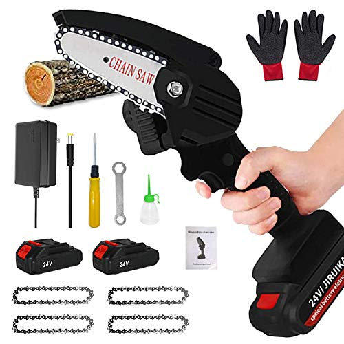 YMWD Mini Chainsaw 4-Inch Cordless Handheld Electric Portable Chain Saw with Battery 4 Chain and Splash Board 0.7kg Lightweight Pruning Shears Chainsaw for Garden Tree Branch Wood Cutting,Black