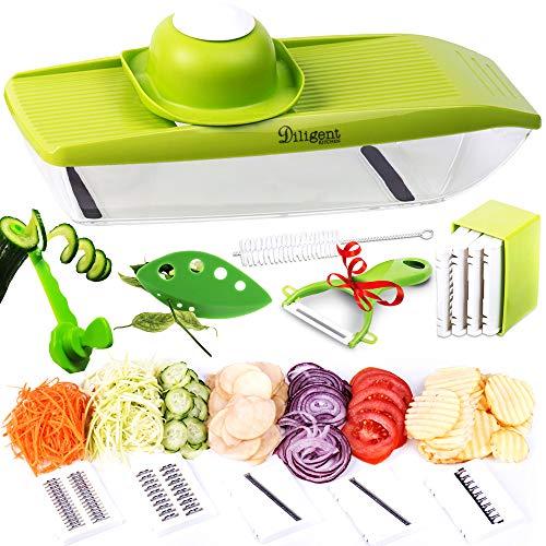 Mandoline Slicer + Peeler, Cleaning Brush and Spiralizer Veggie Slicer - Cutter for Potato, Cucumber, Onion with 5 Stainless Steel Blades - Julienne Slicer - Potato Chip Maker - Mandolin for Kitchen