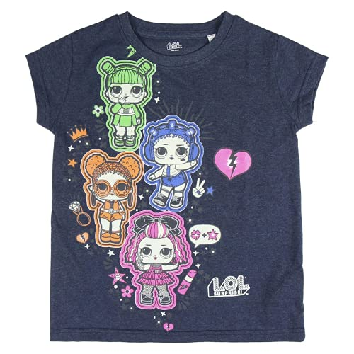 Cerdá LOL Surprise Niña Fluorescente de Manga Corta de la Talla 6 Años-100% Algodon Camiseta, Azul, 6 años para Niñas