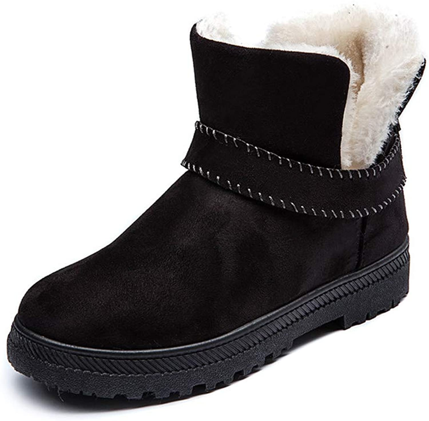 Women Winter Ankle Snow Boots Flat Low Heel Booties Slip-on Warm Plush Outdoor Short Boots, Add Fur