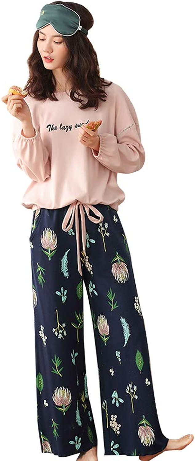 Comfortable and Stylish Pajamas Pink Loose Ladies Home Clothing Cotton LongSleeved Pajamas Set (color   Pink, Size   S)