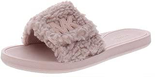 Womens MK Slide Leather Fleece Slide Sandals