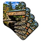 3dRose USA, Vermont, Waterville. Montgomery Covered Bridge with Fall Foliage. - Soft Coasters, Set of 4 (CST_210009_1)