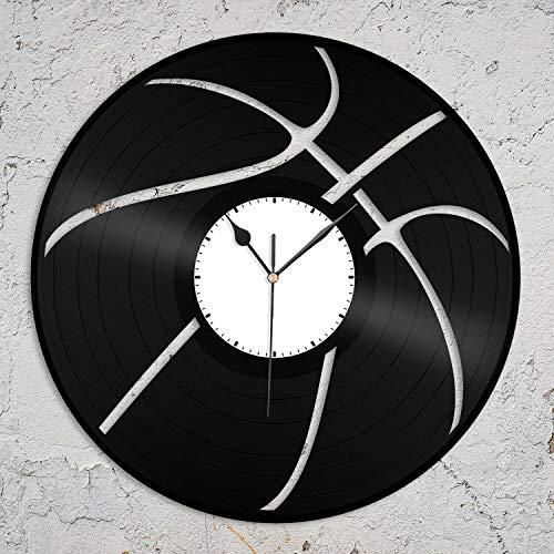 Pelota de baloncesto de vinilo reloj de pared para amantes de los deportes, regalo para el hogar, habitación, oficina, oficina, bar, decoración del hogar