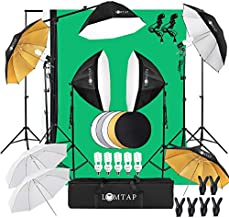 LOMTAP Photo Studio Lighting Kit Photography Studio Softbox Light Kit Background Support System 6.5ftx9.8ft Stand Octagonal Softboxes Cantilever Reflector 5 Bulbs 6 Clips