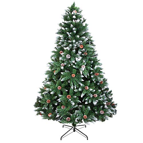 usikey Christmas Tree with Flocked Pine Cones, 6 FT Automatic Branching Artificial Tree with 1000 Tips, Xmas Full Tree with Metal Stand for Living Room, Indoor and Outdoor Holiday Decoration, Unlit