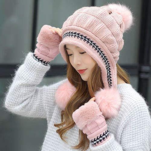 HLONGG Beanie de Punto de Invierno para Mujer con Piel sintética Pompon Sombrero de Punto cálido,Rosado