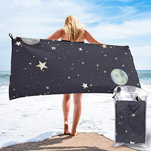 Lawenp Toalla de Playa de Secado rápido, Toallas de baño Ligeras de Microfibra con Estampado Galaxy, súper absorbentes para niños y Adultos, 27.5 'X55'