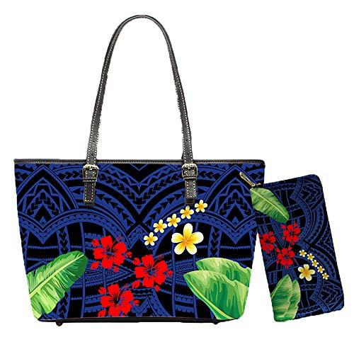 2 Pcs PU Leather Totes Polynesian Plumeria Banana Leaves Print Classic Handbags for Women Shoulder Bags