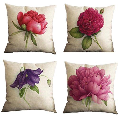 Nunubee Juego de 4 fundas de almohada de lino y algodón, 45 x 45 cm, diseño de flores