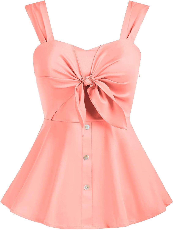 KANCY KOLE Women Peplum Tops Knot Front Sleeveless Blouse Shirts Button Down Dressy Tank Tops S-XXL