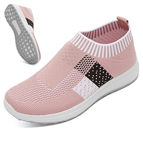 BROLK Slip-On Walking Shoes for Women: Lightweight, Breathable Women's Shoes for Gym, Biking, Running, Tennis - Casual Yet Fashionable - Ergonomic, Non-Slip Shoes for Women with Flexible Outsole