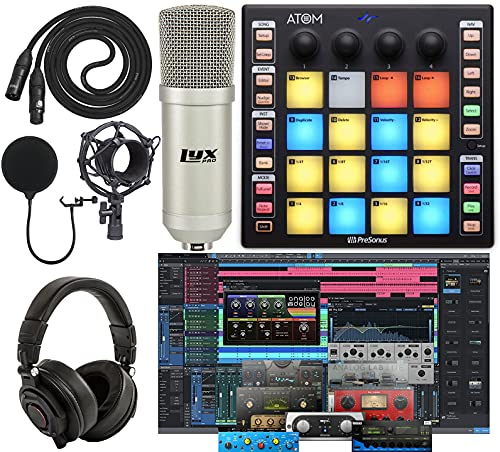 PreSonus ATOM Production/MIDI and Performance Pad Controller w/Professional Studio Microphone and Recording Kit
