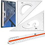 """Mr. Pen- 3 Pc Large Triangular Ruler Set, Triangular Scale, 11"""" 30/60 and 8"""" 45/90 Triangles, Architectural Scale Ruler, Architect Triangular Scale, Set Squares, Geometry Ruler, BluePrint Scale Rulers"""