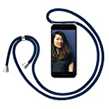 ZhinkArts Handykette kompatibel mit Apple iPhone 7 Plus / 8 Plus - 5,5' Display - Smartphone Necklace Hülle mit Band - Handyhülle Case mit Kette zum umhängen in Blau