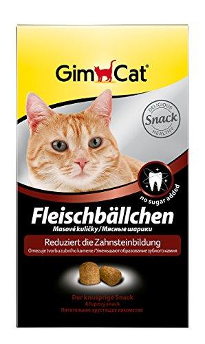 GimCat Fleischbällchen - Knuspriger Katzensnack mit Fleischgeschmack reduziert die Zahnsteinbildung - 3er Pack (3 x 100 g)