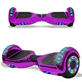 TPS Electric Hoverboard Self Balancing Scooter for Kids and Adults Hover Board with 6.5' Wheels Built-in Bluetooth Speaker Bright LED Lights UL2272 Certified (Chrome Purple)