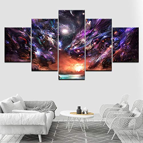 HNBLSHM Varios grifos brillantes 5 piezas HD Wallpapers Art Canvas Print Poster moderno Pintura de arte modular para sala de estar Decoración para el hogar 30x40 30x60 30x80cm Sin marco