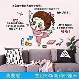 Decoración de la habitación de la niña rosa dormitorio autoadhesivo chica alquiler de viento renovación de la casa etiqueta de la pared decorativa: quiero ser delgada_grande