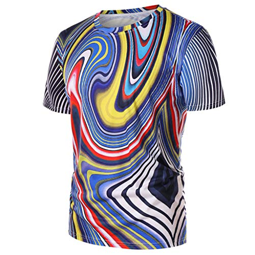 MAYOGO Tshirt Herren 3D Druck Männer Bunt 3D Print Magie Muster T-Shirts Oberteile Hemden Tops