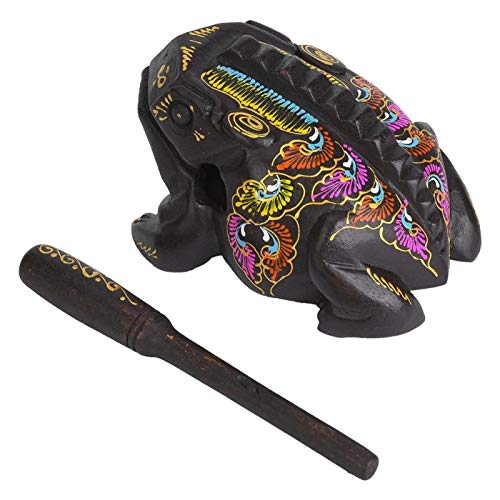 Rana de madera, material de madera Exquisita rana de la suerte, decoración de rana pintada de color, para oficina, terraza, hogar(large)