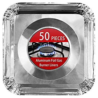 "Aluminum Foil Gas Stove Burner Liners, 50 Pack Stove Burner Covers Disposable Square Stove Bib Liners Gas Rangetop Protectors Cooktop Replacement Keep Stove Clean Square 8.5"""