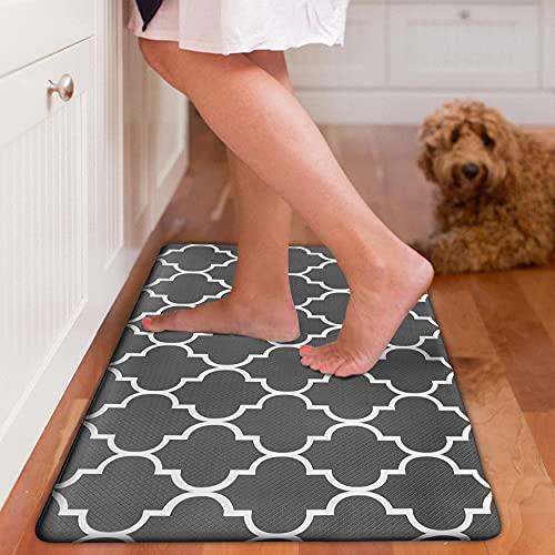 EARTHALL Kitchen Mat Cushioned Anti-Fatigue Floor Mat, 17.3'x30', Waterproof Non-Slip Black Trellis Kitchen Rug Ergonomic Comfort Standing Mat for Kitchen, Home, Office, Sink, Laundry, Desk