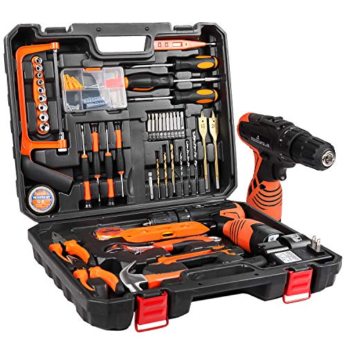 LETTON 16.8V Tool Kit with Drill, 247 In-lb Torque, 0-1300RMP Variable Speed, 10MM 3/8'' Keyless Chuck, 18+1 Clutch, 1.3Ah Li-Ion Battery & Charger for Home Tool Kit