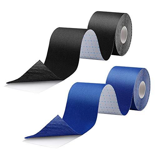 Kinesiologie Tape Stark Klebendes Wasserdichtes Sportband Tape für Sport Kinesiotape Physio Tape 2St 5m x 5cm (Blau + Schwarz)