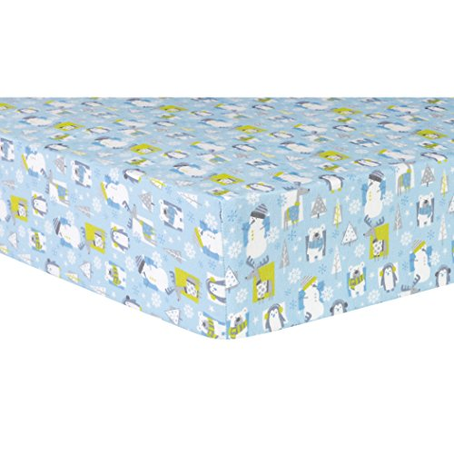 Trend Lab 100% Cotton Snow Pals Deluxe Flannel Fitted Crib Sheet, Blue/Gray/Green