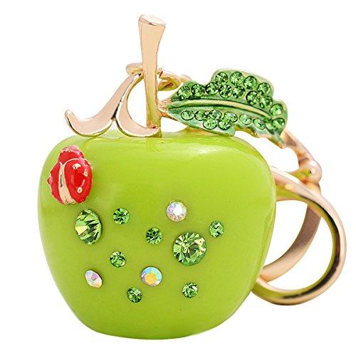 ZOONAI Cute Apple Keychain Rhinestone Car Keyring Holder Purse Pendant Bag Decoration