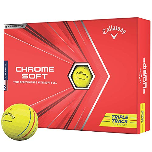 2020 Callaway Chrome Soft Golfbälle, Herren, Chrome Soft Triple Track, Dreifachspur Gelb