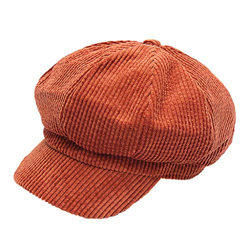MaNMaNing Damen Winter Cordhose Baskenmütze Thermal Bequem Freizeit Einfarbige Maler Achteckige Cap Schirmmütze (Orange, Einheitsgröße)