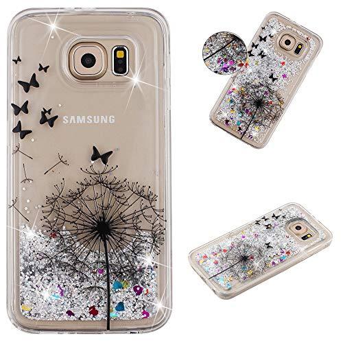 Miagon Flüssig Hülle für Samsung Galaxy S7 Edge,Glitzer Weich Treibsand Handyhülle Glitter Quicksand Silikon TPU Bumper Schutzhülle Case Cover-Löwenzahn Schmetterling