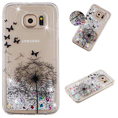 Miagon Flüssig Hülle für Samsung Galaxy S7,Glitzer Weich Treibsand Handyhülle Glitter Quicksand Silikon TPU Bumper Schutzhülle Case Cover-Löwenzahn Schmetterling